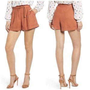 June Hudson Pleat Linen Spring Shorts Orange